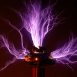 This image shows the special 'ribbed' effect that the Tesla coil produces when properly tuned.